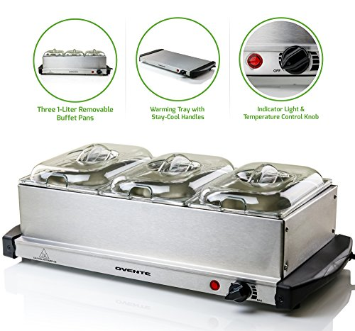 Ovente Electric Food Buffet Server & Warmer 3 Stainless Steel Chafing Dishes with Temperature Control and Easy Countertop Heating for Home Dinner, Outdoor Party, Holiday and Catering, Silver FW153S