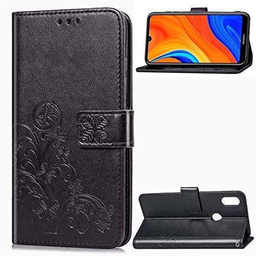 PROTECTIVECOVER+ / for Huawei Y6S (2019) Cierre de Cuatro Hojas Caja de Cuero con Hebilla en Relieve con cordón y Ranura Tarjeta y Cartera y Soporte, Fashion Phone Funda para Protector