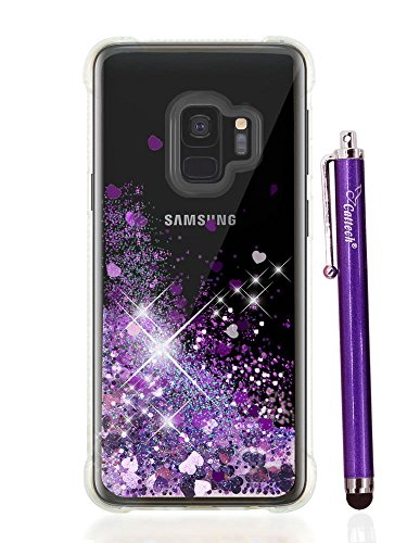 S9 Case for Women, S9 Case Glitter, Cattech Glitter Liquid Sparkle Floating Luxury Bling Quicksand [Drop Protection] [Non-slip Grip] Slim Clear Soft TPU Cover for Samsung Galaxy S 9 + Stylus (Purple)