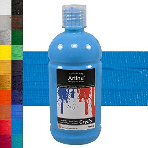 Artina Crylic Bote de Pintura acrílica - Calidad óptima - 500 ml - Ideal para Profesionales y Aficionados - Azul cerúleo