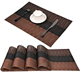 Famibay Platzsets Abwaschbar 4er Set Braun Tischsets Kunststoff Platzdeckchen