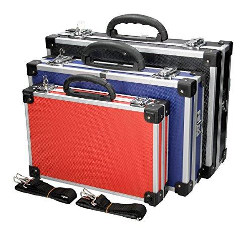 ECD Germany Set de 3 Maletines de Transporte para Herramientas en Aluminio Reforzado Caja para Herramientas Estuche para Almacenamiento con Correa y Cerradura de Seguridad con Llaves Resistente
