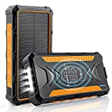 DJROLL 36000mAh Batterie Externe Solaire, Qi sans Fil Chargeur Solaire 2 Ports USB et 1 Type-C Charge Rapide, Waterproof Alimentation d'urgence, Chargeur de Téléphone Portable pour Camping