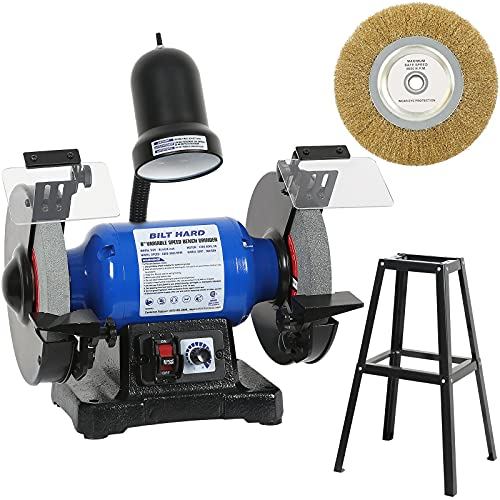 BILT HARD 5-Amp 8-Inch Bench Grinder, Variable Speed Bench Grinder with Light, Stand and Wire Wheel - CSA Listed