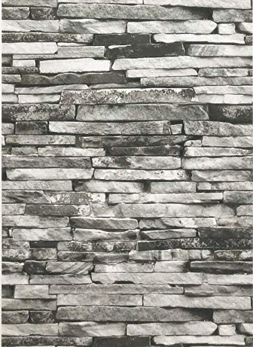 Blooming Wall Peel and Stick Removable Faux Stone Prepasted Self Adhesive Wallpaper Décor Wallcoverings, (Wallpaper(14.5 Square Ft/Roll), Black/Gray Stone)