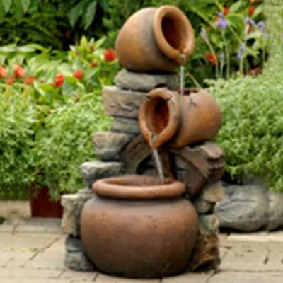 Small Solar Powered Water Feature Cascading Bowl Spilling Urns with Wheel & LED Lights PC507