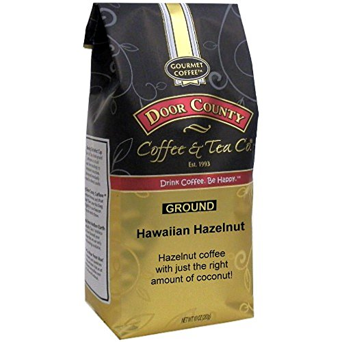 Door County Coffee, Hawaiian Hazelnut, Coconut and Hazelnut Flavored Coffee, Medium Roast, Ground Coffee, 10 oz Bag