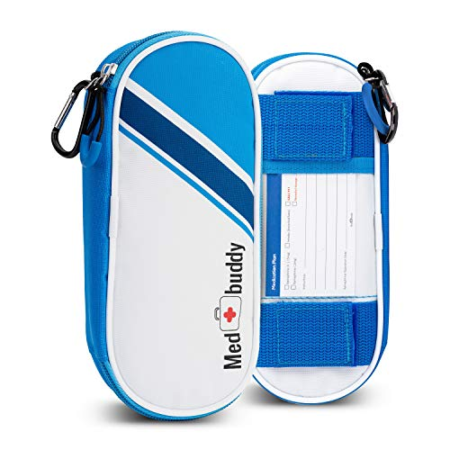 MedBuddy Portable Travel Case - Holds 2 EpiPens or Auvi-Q, Inhaler, Allergy/Asthma - Expandable and Compact for Emergency Access (Blue Stripe)