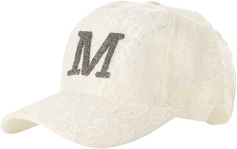 CHIMERA Korean Women Baseball Cap Rhinestone Letter M Embroidered Glitter Sun Hat Adjustable Visor Cap for Travel Vacation