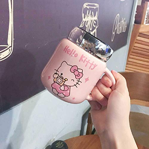 Cartoon Doraemon Becher Netz Rot INS Studentin Wasserbecher Hello Kitty Keramikbecher Liebhaber Tasse Mit Deckel Löffel 50 ml/B Selfie Hello Kitty
