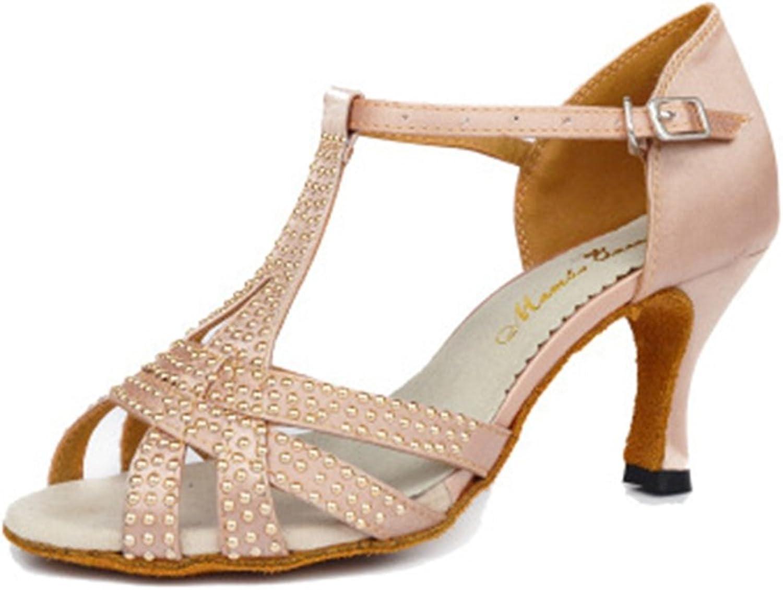 GIY Women's Rhinestone Satin Latin Tango Salsa Heel Dance Sandals T-Strap Ballroom Morden Dancing shoes