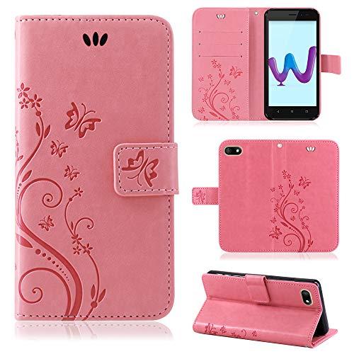 betterfon | Wiko Sunny 3 hülle Flower Hülle Handytasche Schutzhülle Blumen Klapptasche Handyhülle Handy Schale für Wiko Sunny 3 Rosa