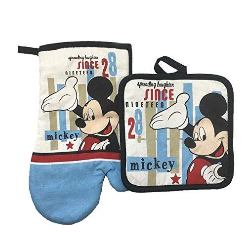 whbage Guantes de Horno Mickey Mouse Microondas Guante Potholder Bakeware Azul y Blanco 100% Algodón Mitones de Horno y Potholder Mat para BBQ o Kitchen
