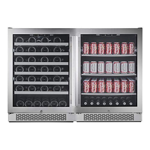 Avallon AWBV54152 Stainless Steel Built-In 48 Inch Wide 54 Bottle Capacity Wine Cooler with Door Locks and 2 Cooling Zones