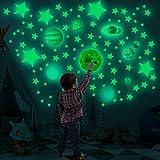 525 pz adesivi da parete fluorescenti,adesivi da parete luminosi,adesivi con stelle luna e pianeti che si illuminano al buio,decorazione fai da te per Cameretta dei bambini/soffitto/pareti/soggiorno