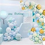 Kit arc de ballon, 126 guirlandes de ballons bleus, ballons en aluminium 4D, ballons de confettis dorés, ballons d'anniversaire, décorations de fête et mariages, baby showers.
