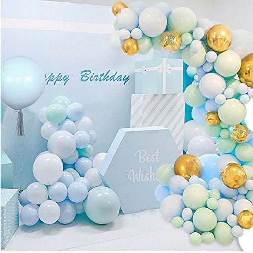 Blue Balloon Garland Arch Kit, 126 Blue Balloon Garlands, 4D Aluminum foil Balloon, Gold Confetti Balloon, Birthday Balloon, Party Decoration and Birthday or Wedding Accessories, Baby Shower