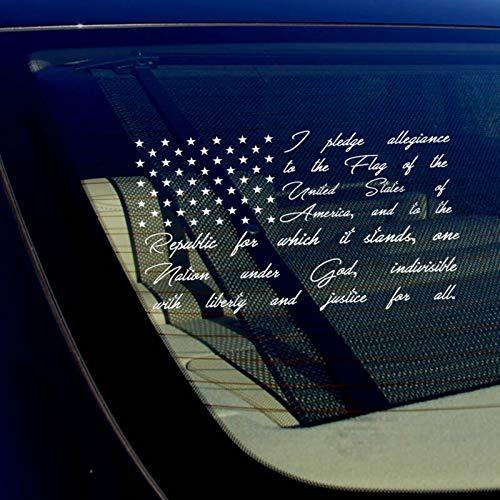 Yilooom American Flag Pledge of Allegiance Vinyl Truck Car Window Sticker Decal
