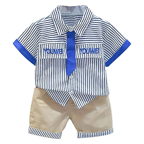 YWLINK NiñO Caballero Solapa Camisa Top Shorts Ropa Traje,Conjunto De Camisa De...
