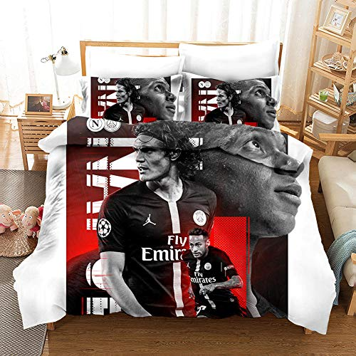 Duvet Cover Set Double (78.7x78.7 inch) Red football Bedding Printed Ultra Soft Hypoallergenic Microfiber with Zipper Closure + 2 Pillowcases 20x29.5 inch