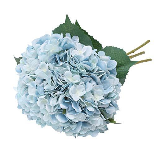 Tifuly Artificial Hydrangea Flower, 5 PCS Ramos de hortensias de Seda de Tallo Largo para Bodas, hogar, Hotel, decoración de Fiestas, centros de Mesa (Azul)