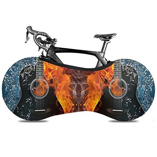 Cubierta de la Bicicleta Portátil de Fumar Cubierta de Interior Anti Polvo Alta Elástica de la Rueda de la Cubierta de la Bicicleta de Protección Rip Stop Neumático Carretera Mtb Bolsa de Almacenamiento, Guitarra multicolor., talla única