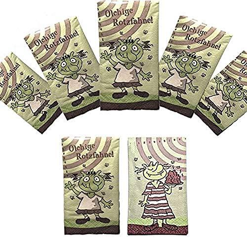 Die Olchis 6-teiliges Taschentücher (Rotzfahnen) Set Papier // Kindergeburtstag Party Geburtstag Feier Fete Deko Motto Mottoparty Mitgebsel Geschenk