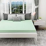 1.5 Inch Memory Foam Mattress Topper Twin XL Size for Dorm, Green Tea Ventilated Design