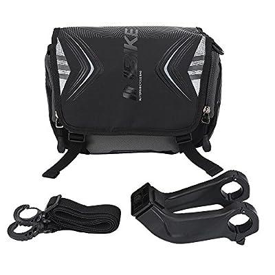 VGEBY Fahrrad Lenkertasche wasserdichte Fahrrad Fronttasche Einzelne Schultergurt Tasche mit Halterung und Regen Cover Bike Zubehör(Schwarz)