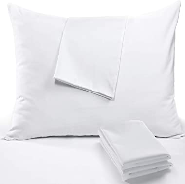 4 Pack Pillow Cases Covers Standard 20x26 Zippered❤️Life Time Replacement❤️Set White Soft Brushed Microfiber Reduces Respirat