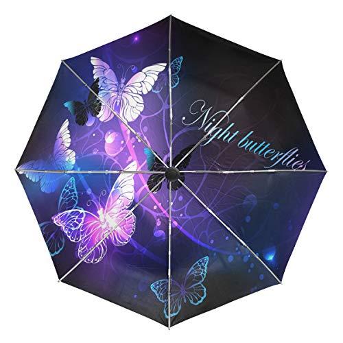 Wamika Automatischer Regenschirm mit leuchtenden Schmetterlingen, winddicht, wasserdicht, UV-Schutz, 3-fach faltbar, automatisches Öffnen/Schließen, für Sonne und Regen