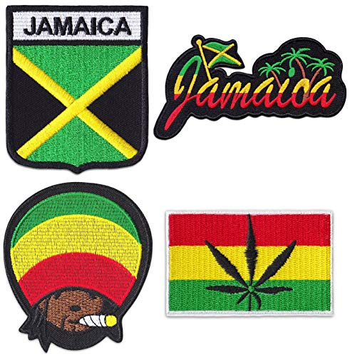 Jamaika Rastafari 4er Set Bestickte Aufnäher Aufbügler Patches Bügelbild Patch Rastafarben Reggae Rasta Kiffer Flagge Fahne