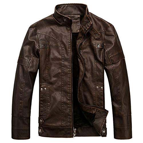 WULFUL Men's Vintage Stand Collar Leather Jacket Motorcycle PU Jacket and Coat