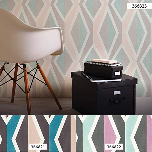 BRICOFLOR Vliestapete | Skandinavischer Stil Skandinavische Tapeten - Tapete Diele & Flur - Blau, Pink/Rosa, Weiß | 10,05 x 0,53 m = Rolle 5.33 m² BRV366823173SC2