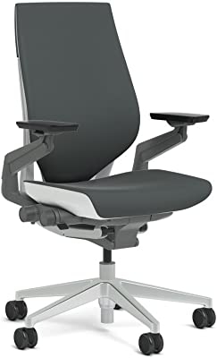 Steelcase Gesture Task Chair: Wrapped Back - Platinum Metallic Frame/Base/Seagull Accent