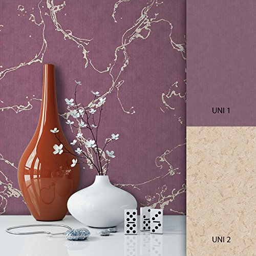 NEWROOM Tapete Lila Marmoroptik Muster Vliestapete Vlies moderne Design Optik Marmortapete inkl. Tapezier Ratgeber