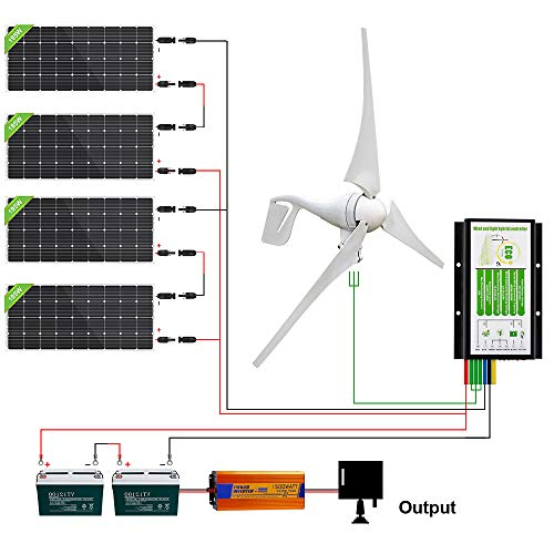 ECO-WORTHY 1200 Watts Solar Wind Turbine Generator Kit: 400 Watt Wind Turbine+ 4pcs 195W Mono Solar Panel+ 1pc Solar Wind Hybrid Controller+ 1pc 1500W Inverter+ 2pcs 100Ah Battery