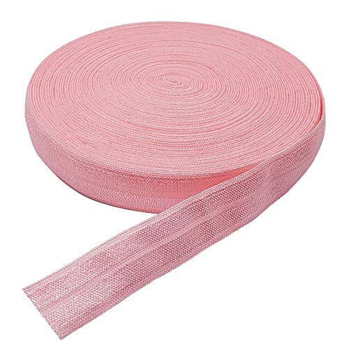 10 Yards Fold Over Elastic Stretch, Braided Elastic Ribbon for Hair Ties Headbands, Available in Various of Colours (Pink, 5/8in)