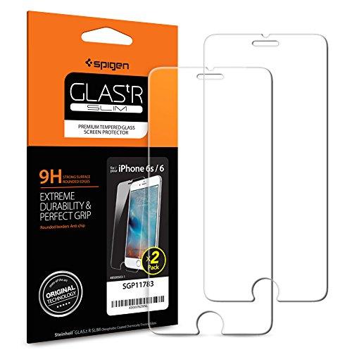Spigen Verre Trempé Compatible avec iPhone 6s, iPhone 6, 2 Pièces, Résistant aux Rayures, 9H Protection écran