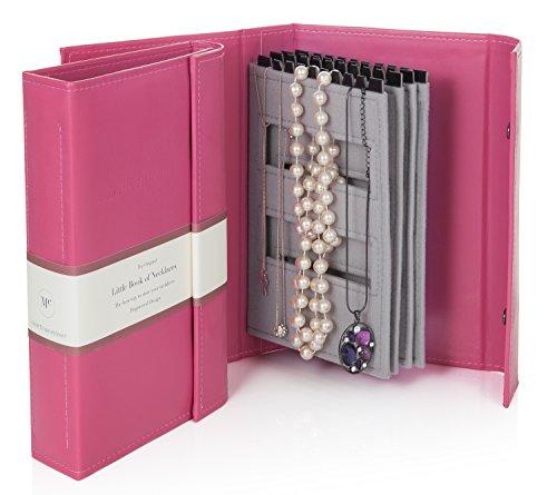 Roze - Little Book van halskettingen - een boek voor het bewaren van je kettingen die vrij en veilig zijn.