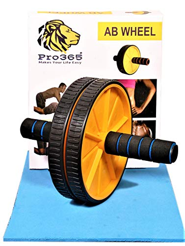 PRO365® Wide Ab Roller Wheel for Abs Workouts/Home Gym Abdominal Exercise/Core Workouts for Men and Women (6 MM Safe Knee Mat,...