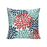CirCleO Square Pillow Red Blue Green Dahlia Floral...