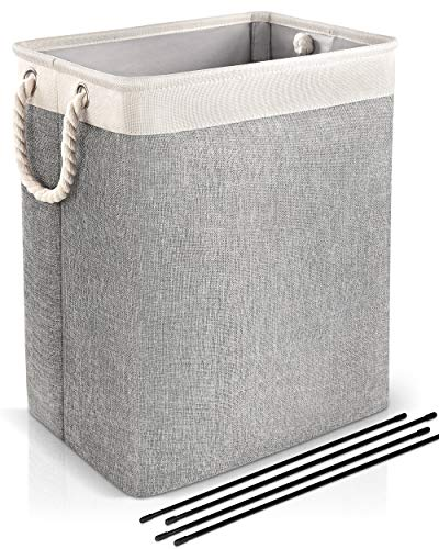 Laundry Basket with Rope Handle, JOMARTO Collapsible Linen Laundry Hamper Built-in Lining with Detachable Brackets Foldable Laundry Storage Baskets...