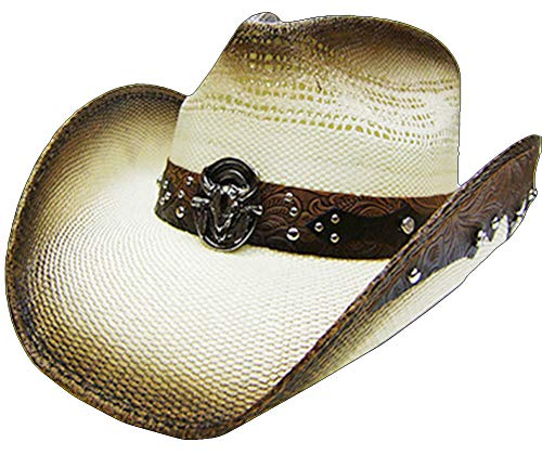 Modestone Unisex Straw Chapeaux Cowboy Bull Head Rhinestones Studs Appliques