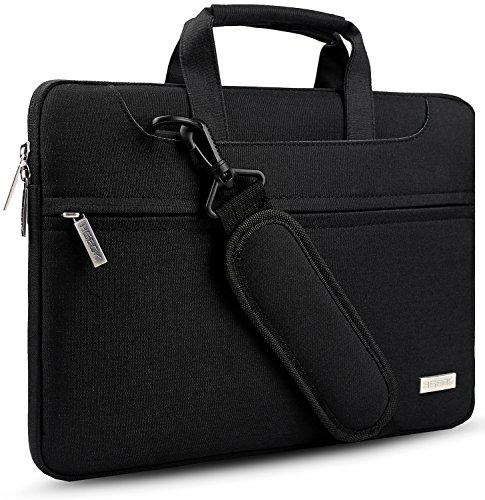 HSEOK 17,3-Zoll-Laptoptasche Hülle, Verstellbarer Schultergurt und unterdrückter Griff Aktentasche Schutzhülle für 17 Zoll Dell Lenovo HP Acer Asus Notebooks, Schwarz