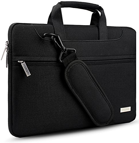 Hseok Bolso Bandolera/Maletín para Portátil 13'-14', Funda Protectora Laptop Sleeve Impermeable para 13,3 MacBook Pro Air, XPS 13, 13'-14' HP ASUS Acer Lenovo DELL Notebook, Negro