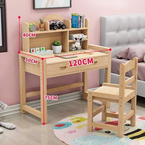 Escritorio infantil De madera maciza for niños mesa de estudio y Juego de sillas Escritorio Inicio Combinación sencilla tabla de Silla ajustable Mesa de Trabajo de bebé Escritorio del estudiante