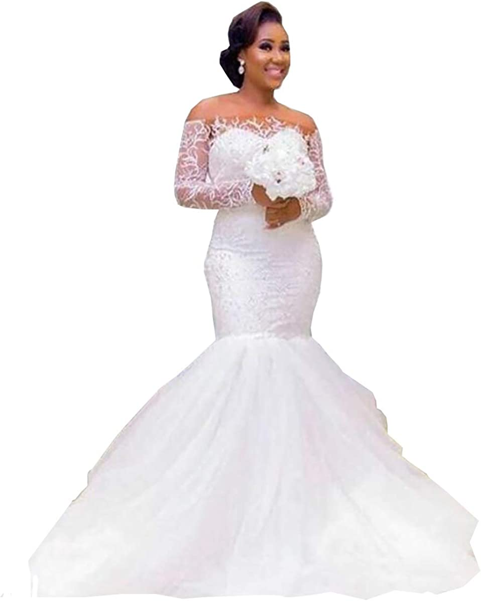 iluckin Women Off The Shoulder Long Sleeves Mermaid Wedding Dresses for Bride Lace Bridal Ball Gown with Train Ivory White