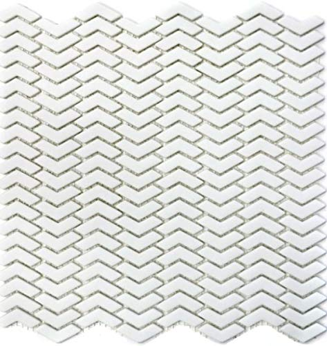 Mozaïek tegel ECO recycling GLAS visgraat Enamel wit mat MOS140-HB37W_f | 10 mozaïekmatten