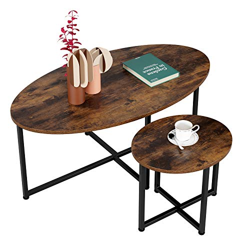 Homfa Oval Side Tables Set of 2 Industrial Coffee Tables End Tables Wooden Bedside Tables with Metal Frame